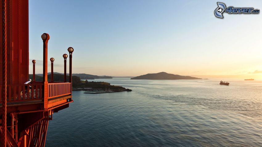balcon, vue sur la mer, îles, navire