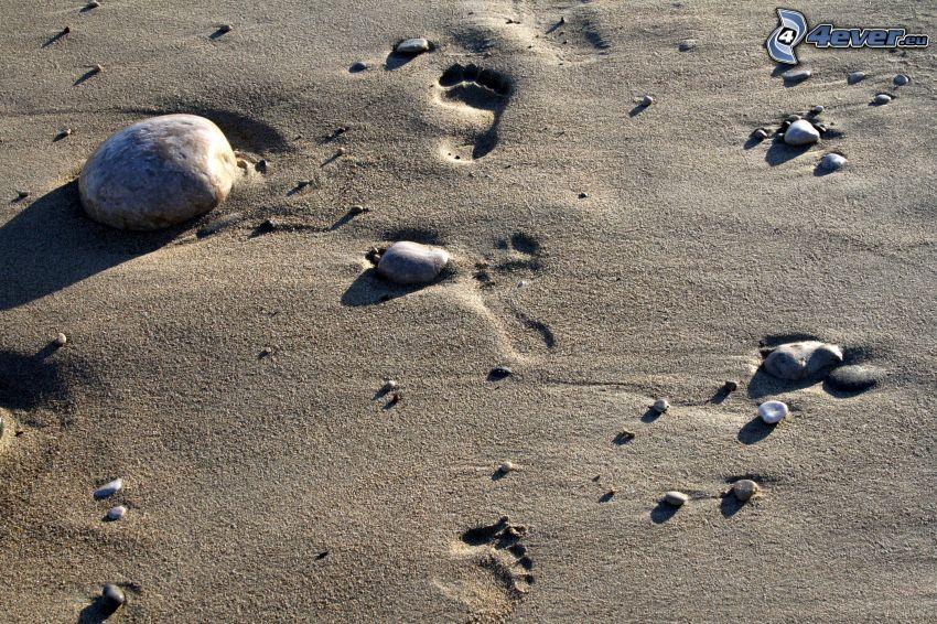 empreintes dans le sable, pierres