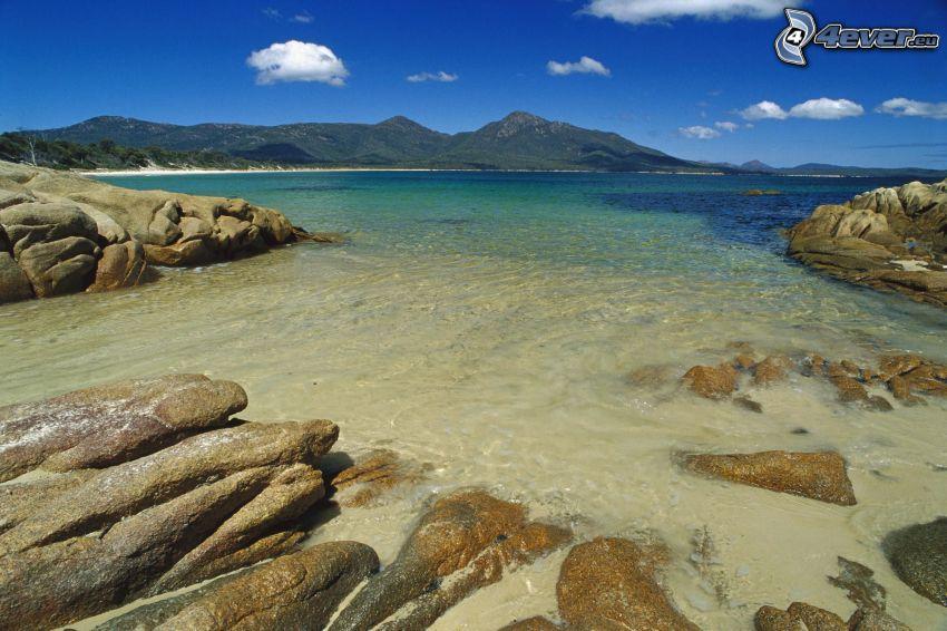 mer, côte, pierres