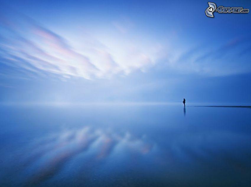 mer, silhouette d'un homme, pêcheur