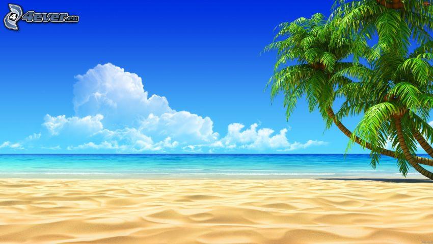 ouvert mer, plage de sable, palmiers, dessin animé