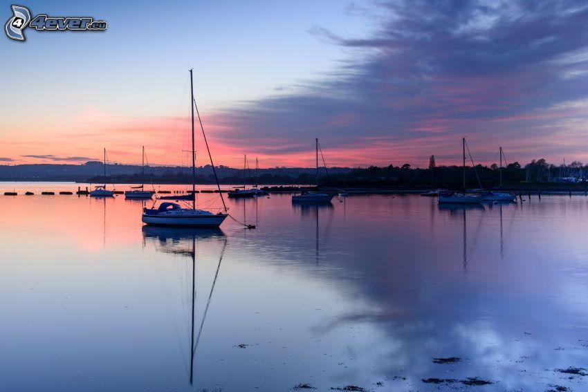 port, bateaux, soirée