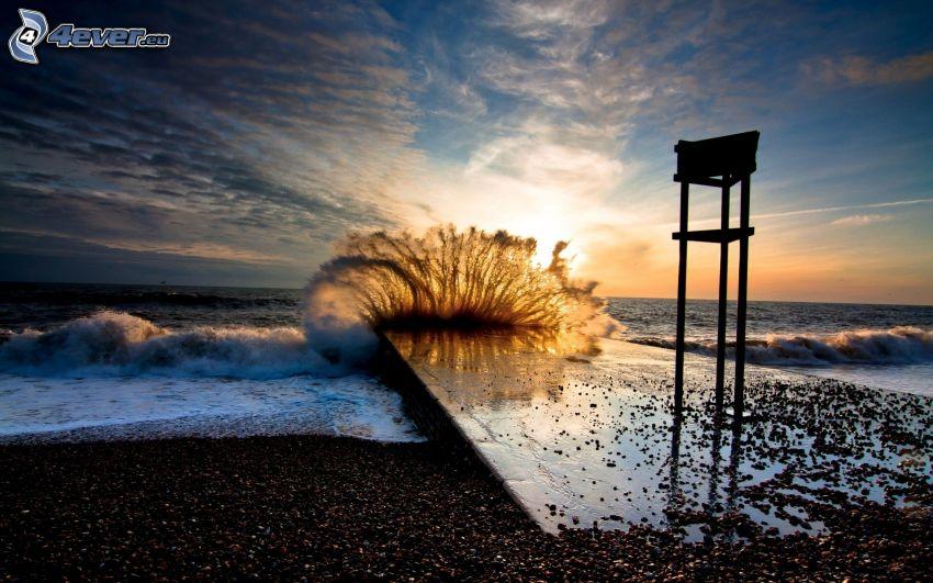 vague, soirée, jetée