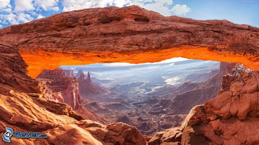 Mesa Arch, porte de roche, vue des roches