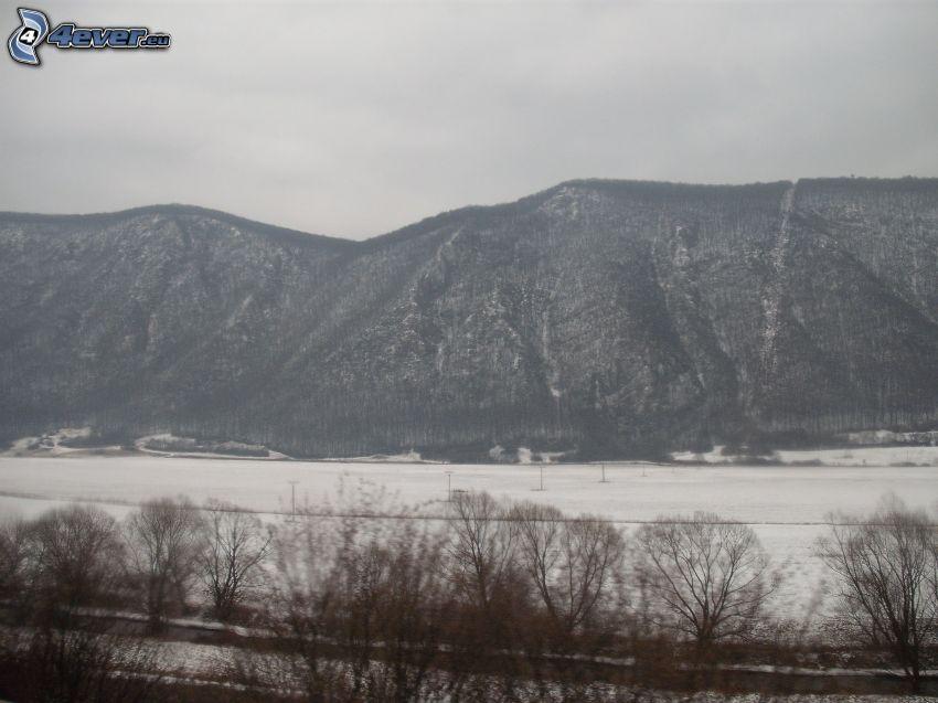 montagne, colline, l'hiver, neige, panorama