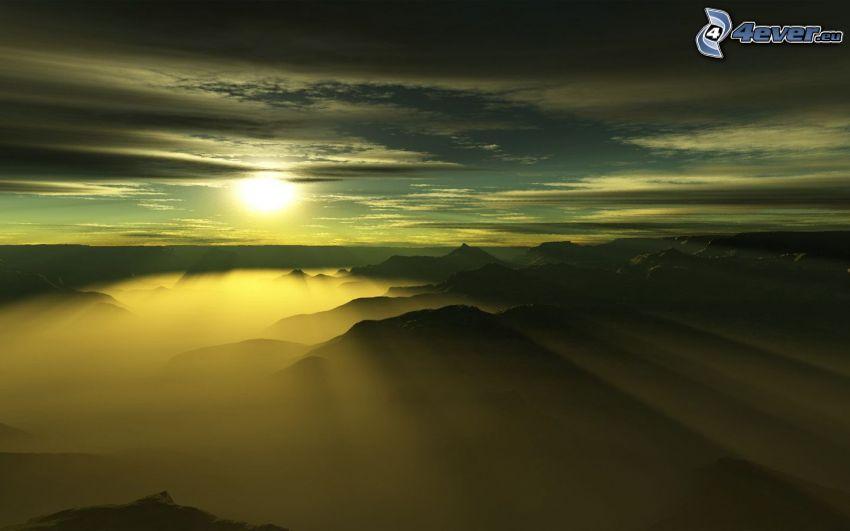 montagne, coucher du soleil, rayons du soleil, nuages
