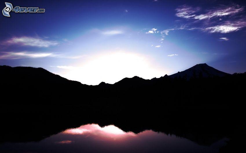 montagne, coucher du soleil, silhouette horizon