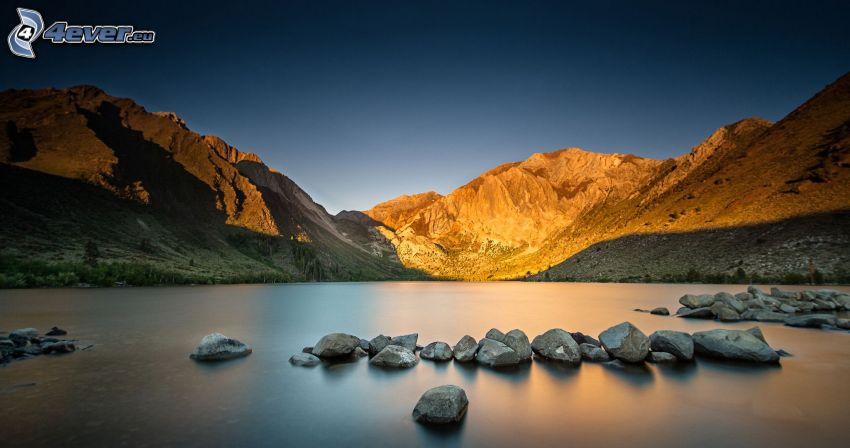 montagnes rocheuses, lac, pierres