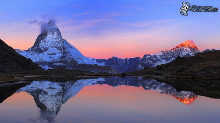 Cervin, Alpes, lac, reflexion