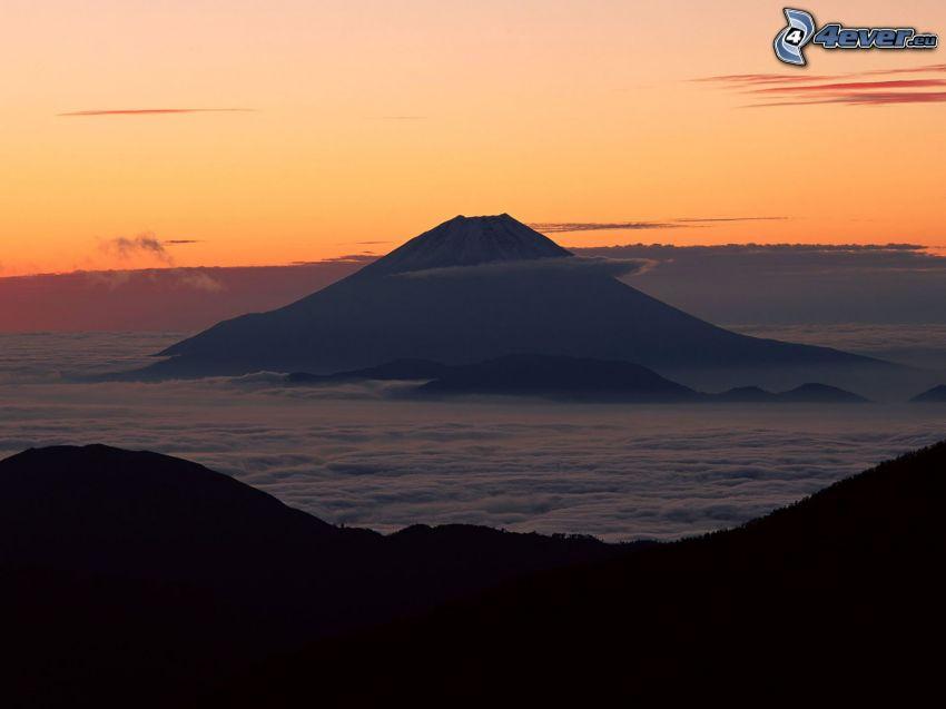 mont Fuji, nuages, paysage