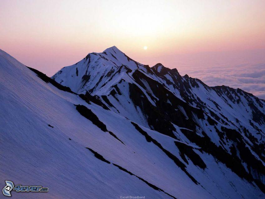 montagne, colline, neige