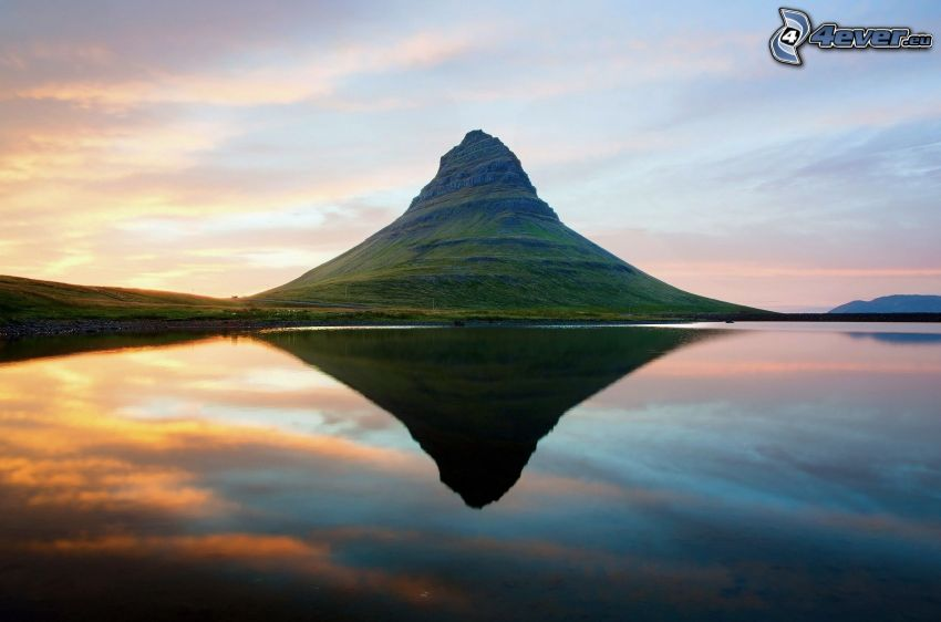 montagne, lac, reflexion, belle matinée