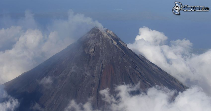 Mount Mayon, volcan, nuages, Philippines