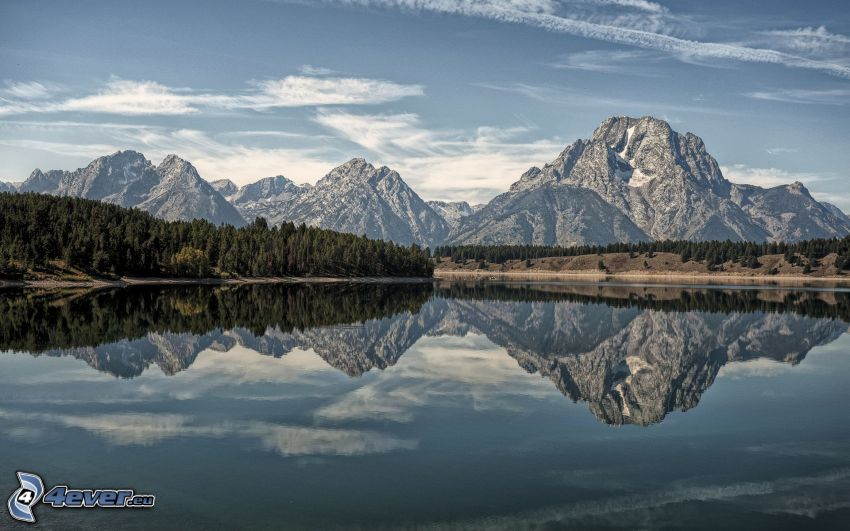 Mount Moran, Wyoming, montagnes rocheuses, lac, reflexion