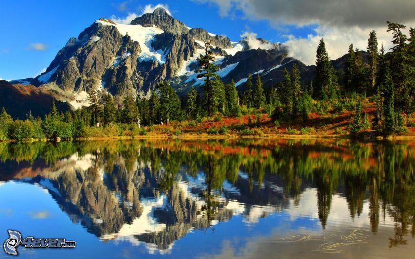 Mount Shuksan, montagne rocheuse, lac, reflexion, forêt