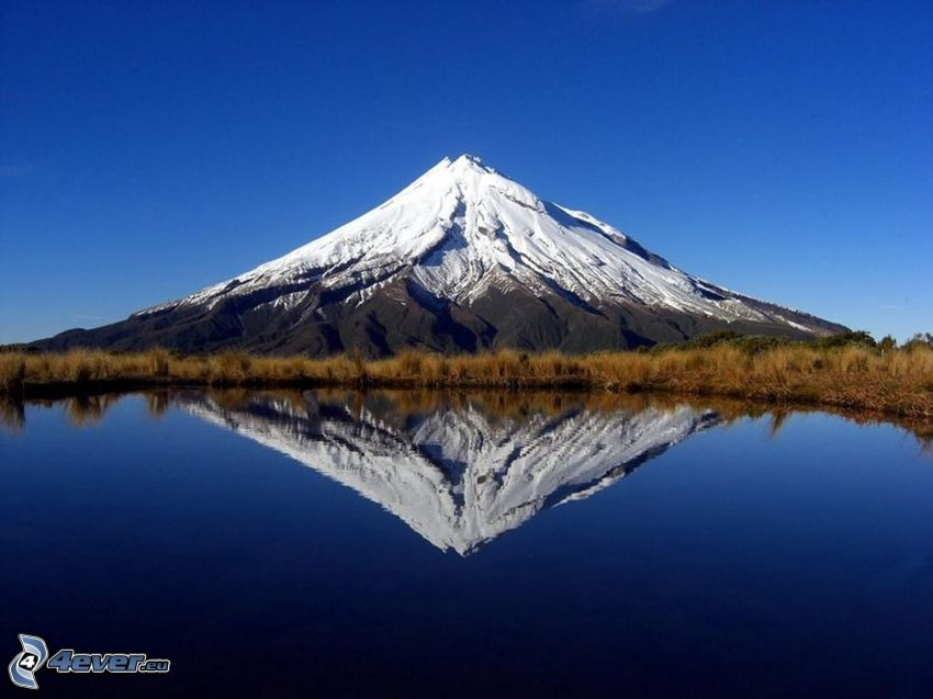 Taranaki, reflexion, lac, montagne neige