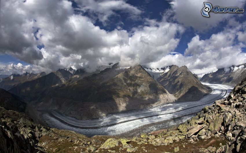 vallée glaciaire, collines, neige, nuages