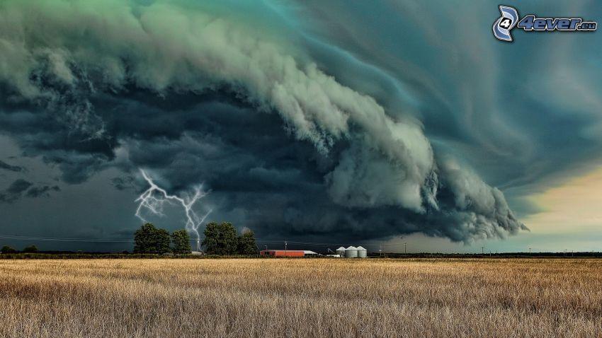 nuages sombres, tempête, foudre, champ