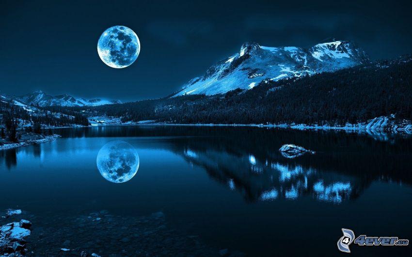 nuit, lune, colline, lac, reflexion