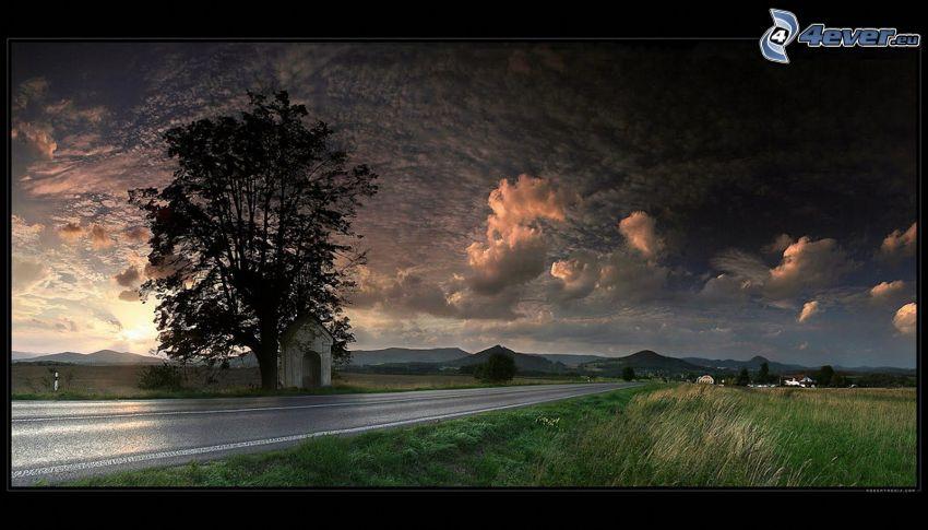 Arbre auprès de la route, chapelle, ciel sombre