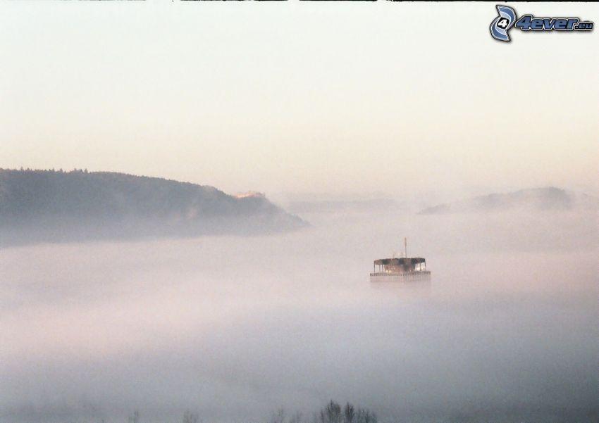 couche d'inversion, brouillard, montagne, vapeur