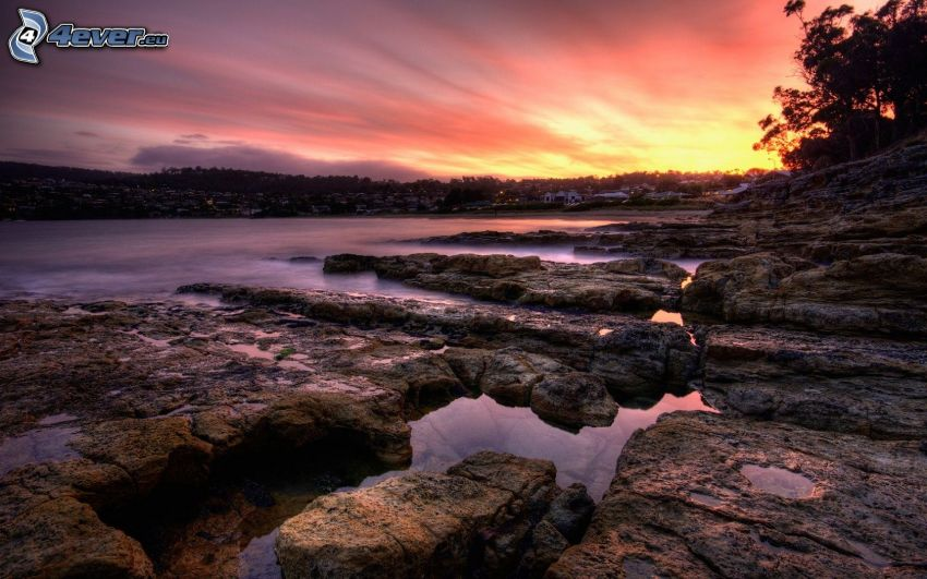 lac, rochers, coucher du soleil