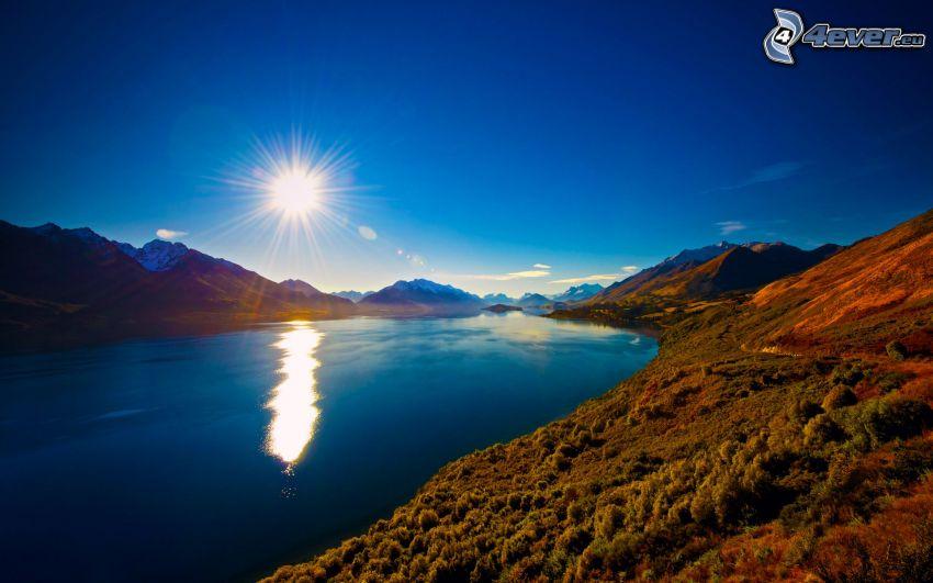 rivière, soleil