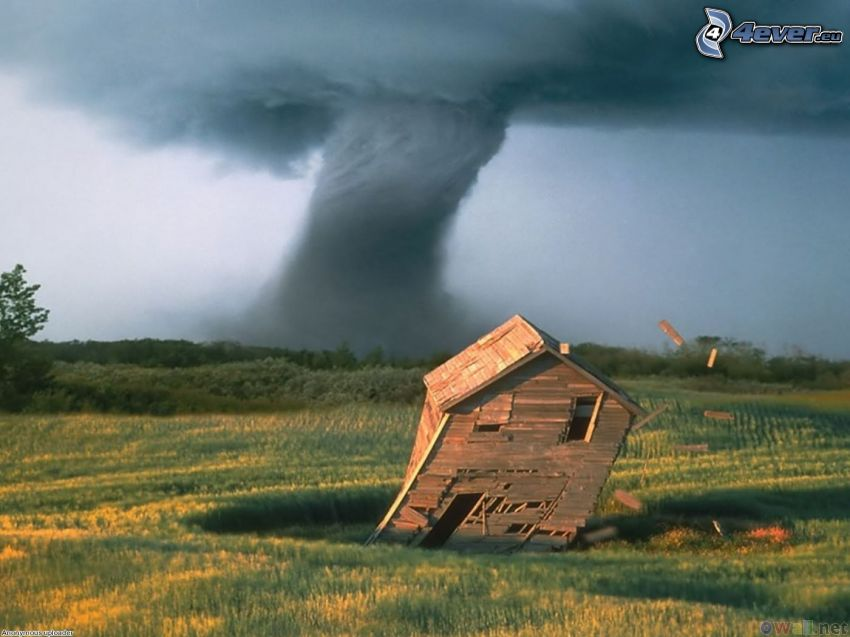 tornade, maison en bois, destruction, champ