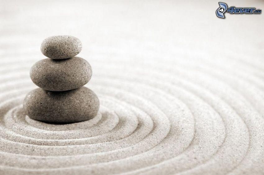 pierres, cercles, sable