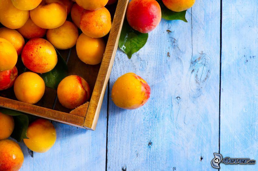 abricots, caisse