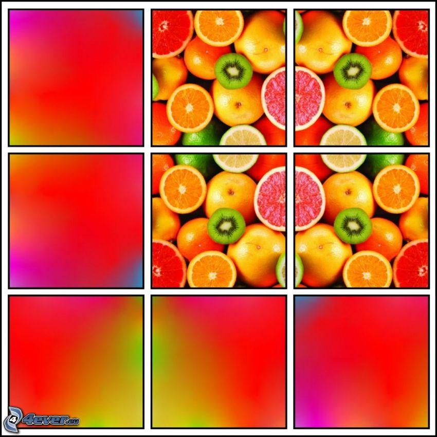 citrons, oranges, kiwi, pamplemousse, mandarines, carrés
