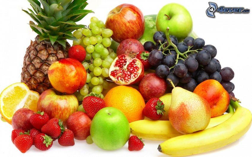 fruits, ananas, raisin, pommes, grenade, orange, pommes rouges, pommes vertes, fraises, poires, bananes, pêches