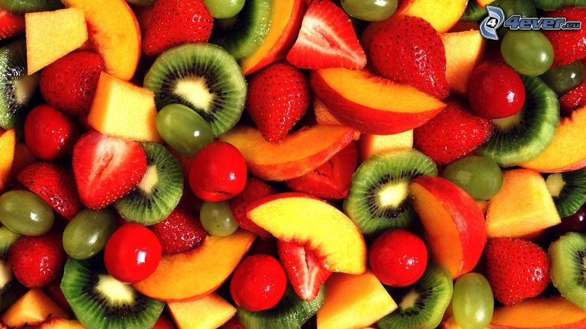fruits, kiwi, pêches, fraises, cerises, raisin