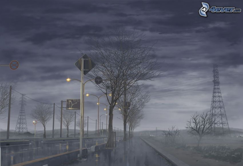 pluie, brouillard, route