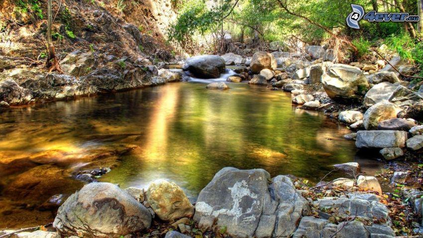 ruisseau, pierres, HDR