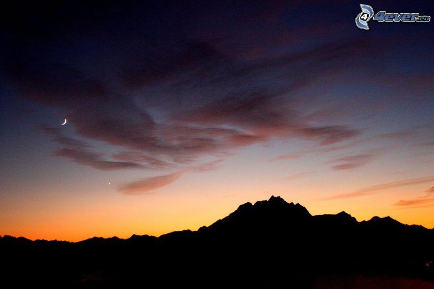 silhouette horizon, lune