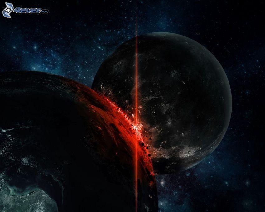 collision en espace, planètes, étincelles, ciel étoilé