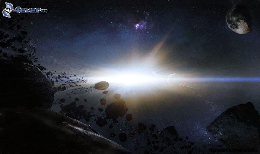espace lueur, astéroïdes, planète