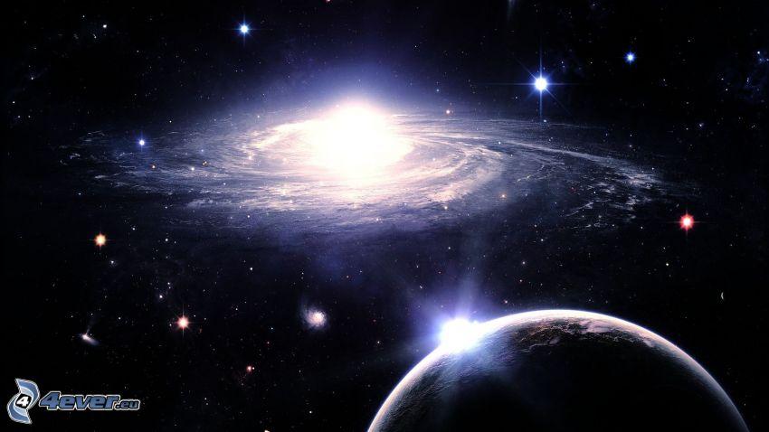 galaxie, planètes, étoiles