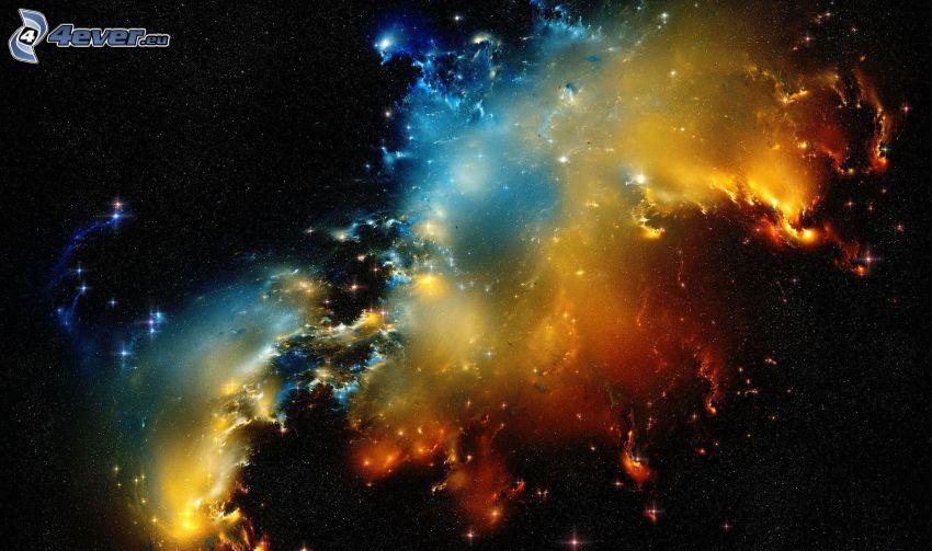 nébuleuse colorée, ciel étoilé