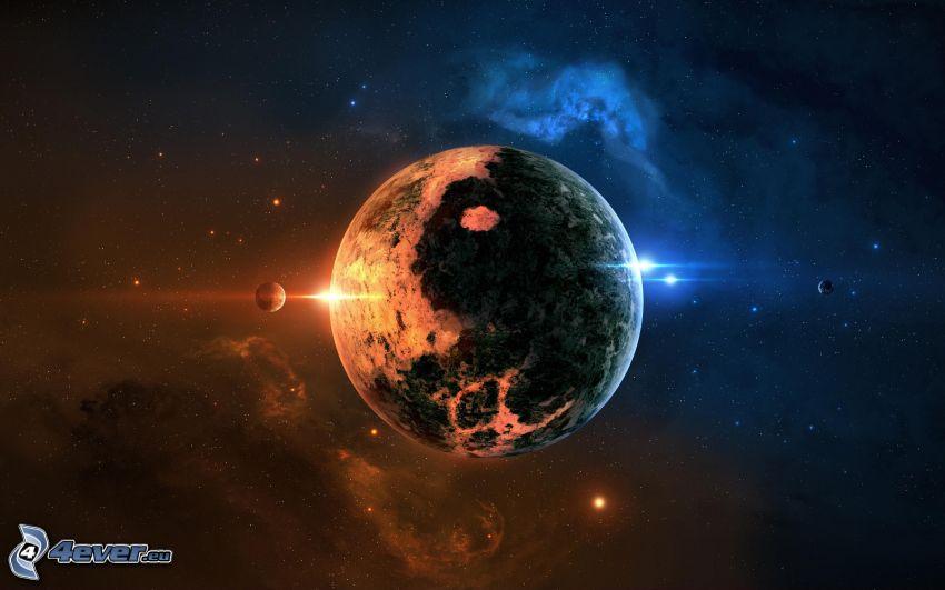 planète, étoiles, nébuleuses