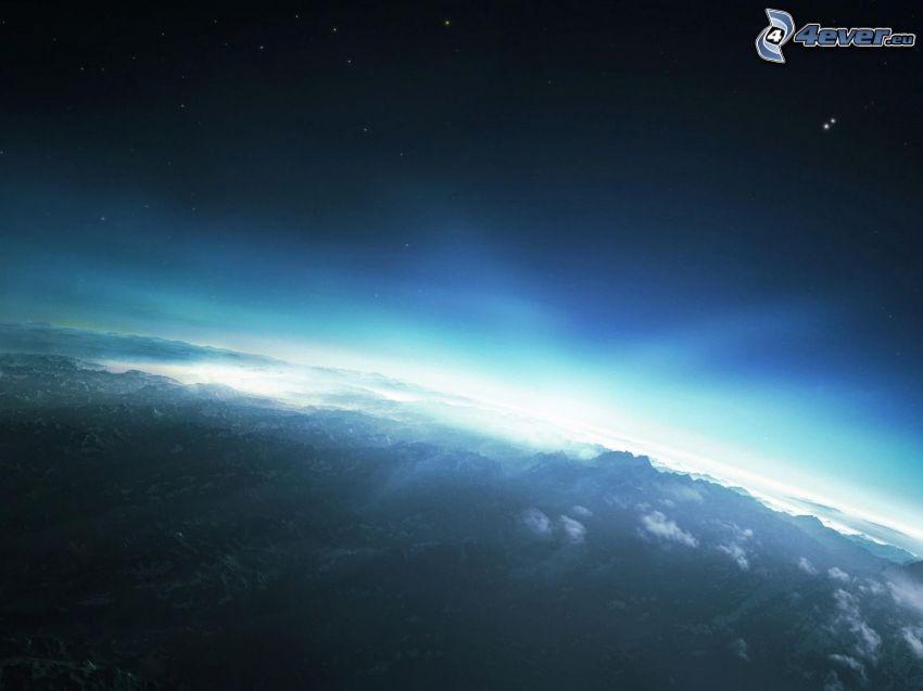 planète Terre, espace lueur