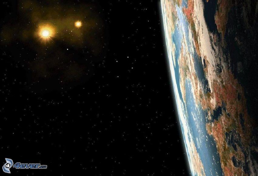 planète Terre, étoiles