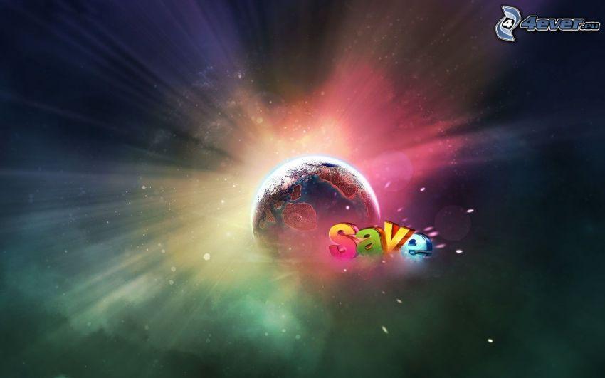 planète Terre, lueur, save