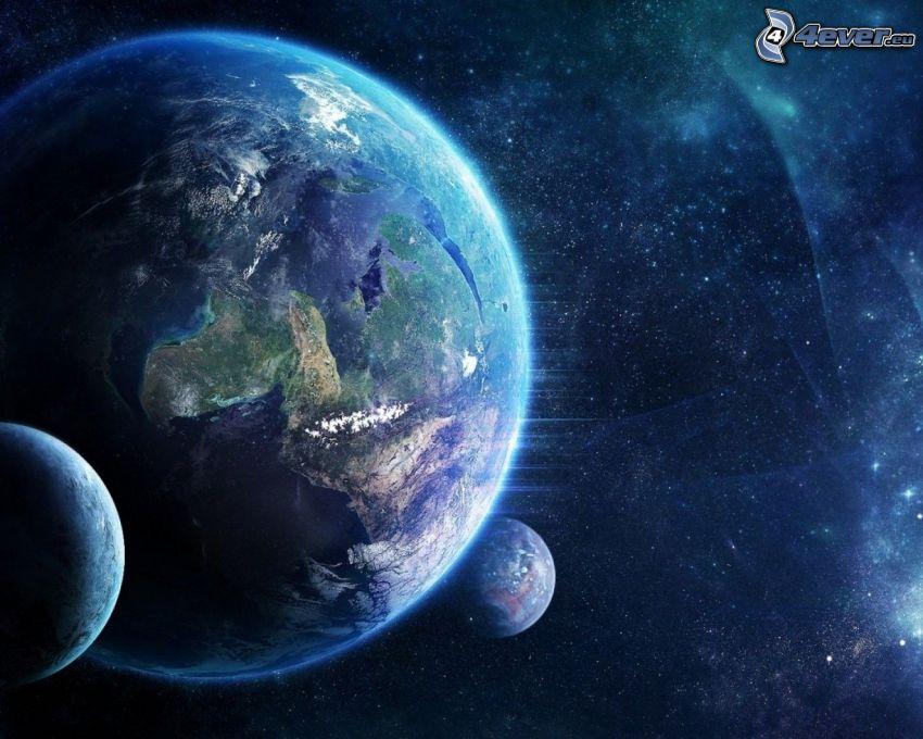 planète Terre, planètes, ciel étoilé