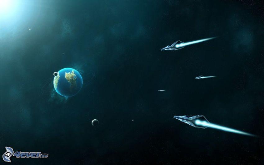 planète Terre, planètes, vaisseau spatial, sci-fi