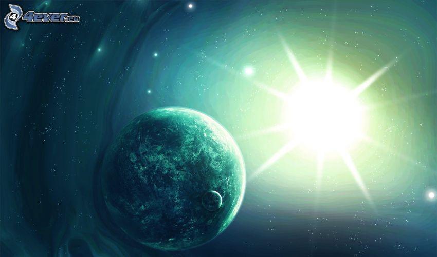 Soleil derrière la Terre, lune, étoiles