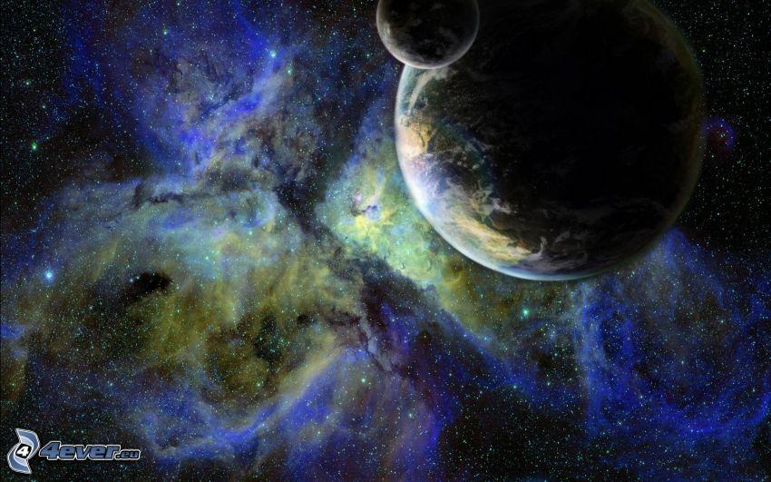 Terre, lune, nébuleuse, étoiles