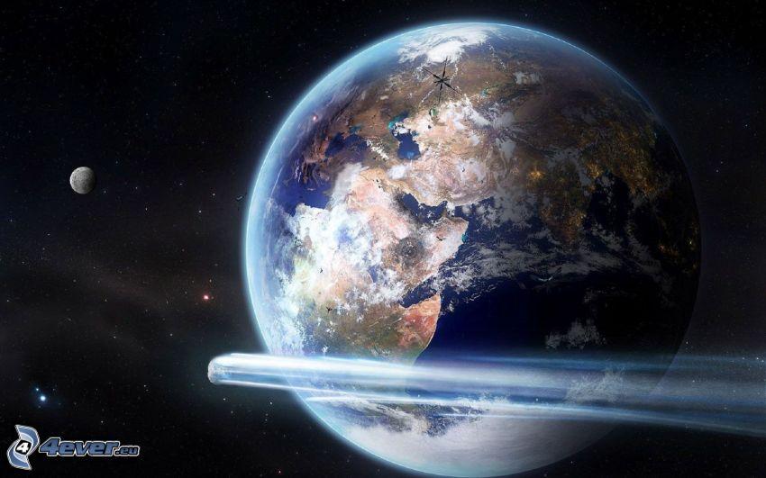 Terre, météorite, lune, étoiles