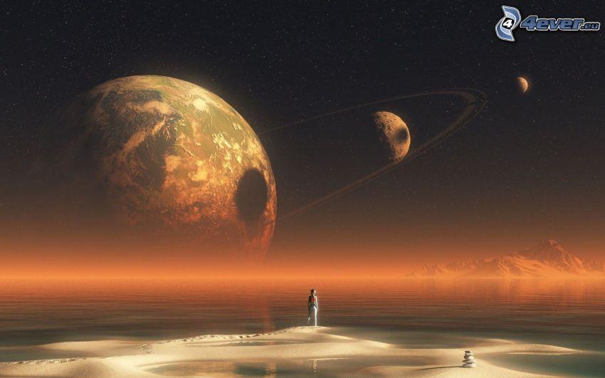Terre, planètes, astronaute